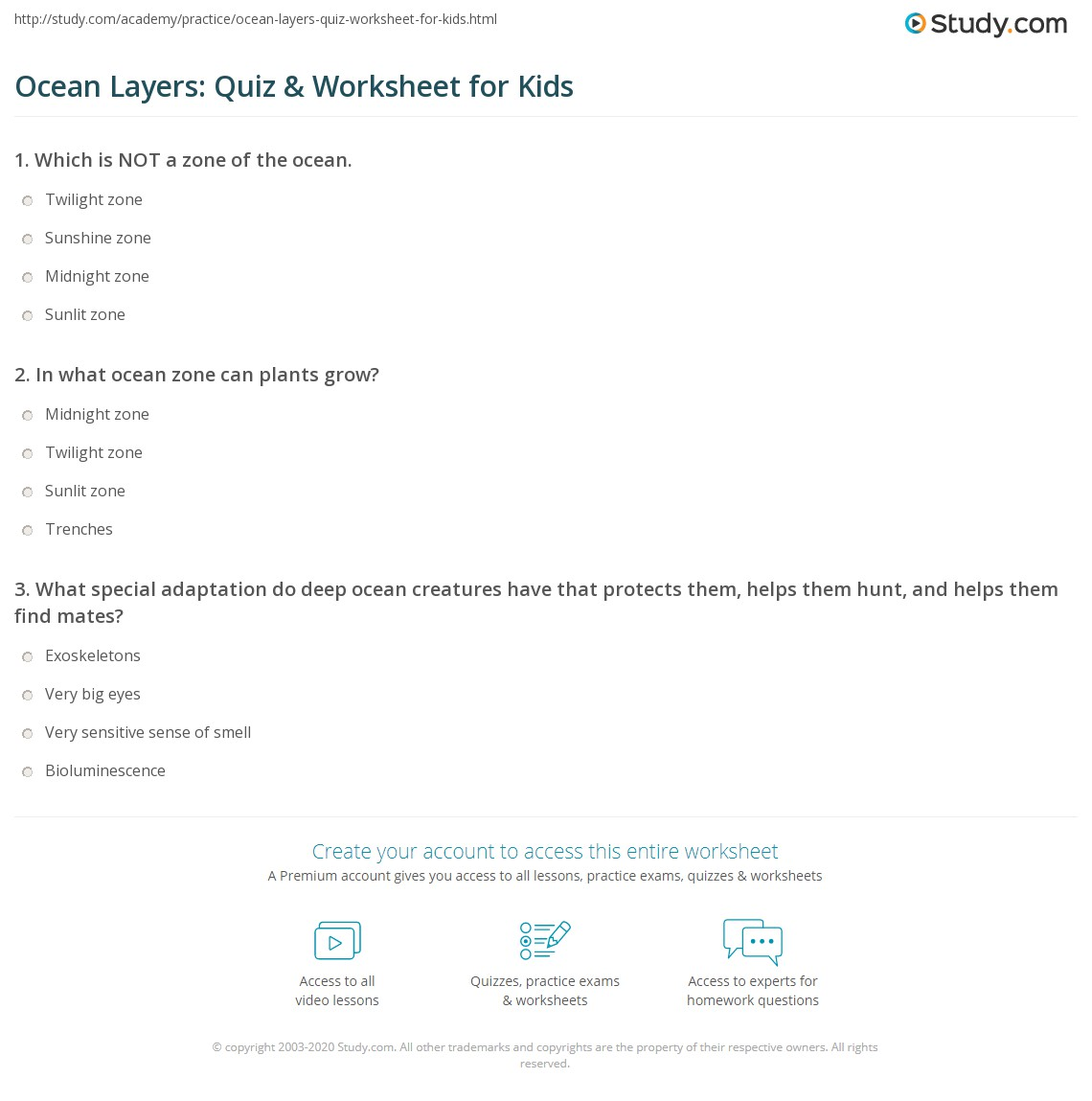 Worksheets Ocean Zones Worksheet ocean layers quiz worksheet for kids study com print zones lesson definition facts worksheet