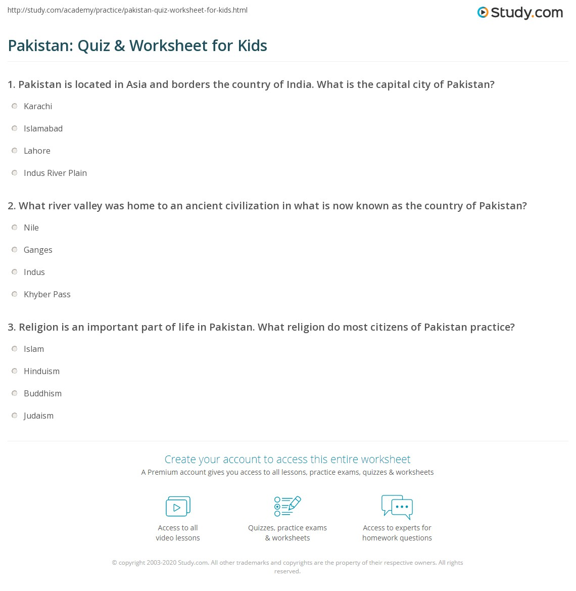 Pakistan Quiz Worksheet For Kids Study
