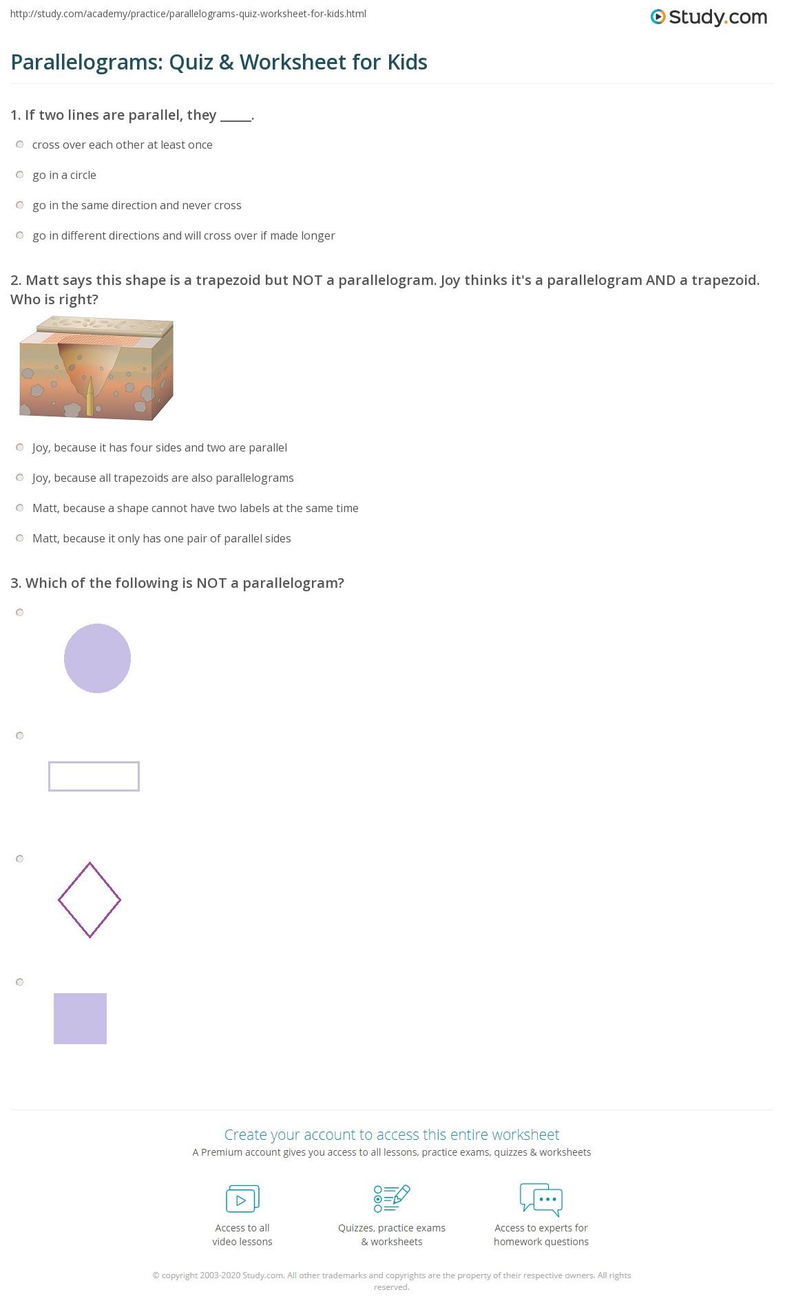 worksheet Trapezoid Worksheet parallelograms quiz worksheet for kids study com print parallelogram lesson worksheet