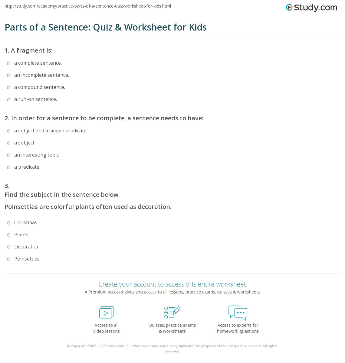 worksheet Parts Of A Sentence Worksheet parts of a sentence quiz worksheet for kids study com print lesson worksheet