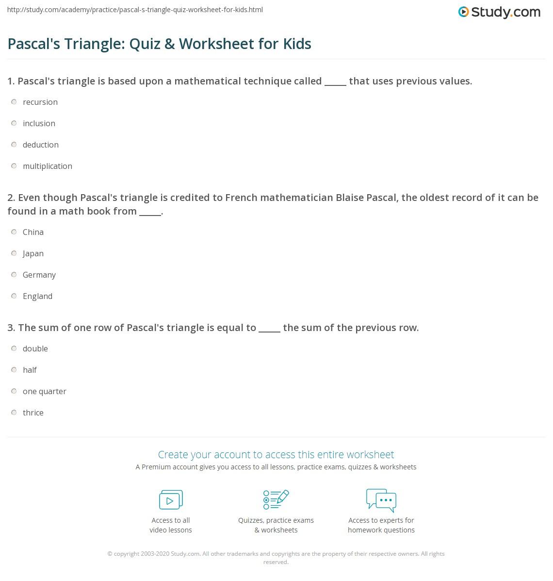 pascal 39 s triangle quiz worksheet for kids. Black Bedroom Furniture Sets. Home Design Ideas