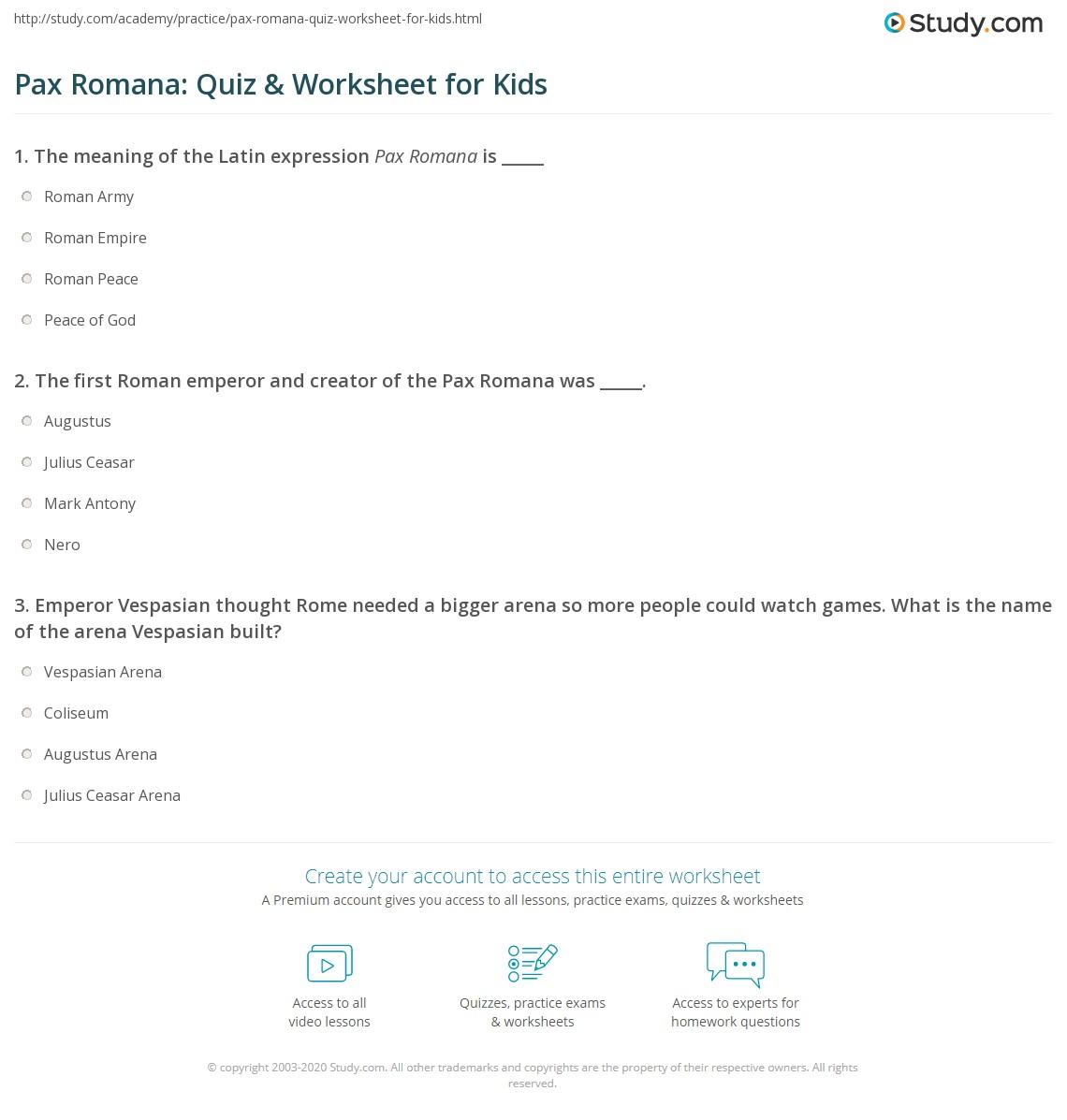 pax romana quiz worksheet for kids. Black Bedroom Furniture Sets. Home Design Ideas