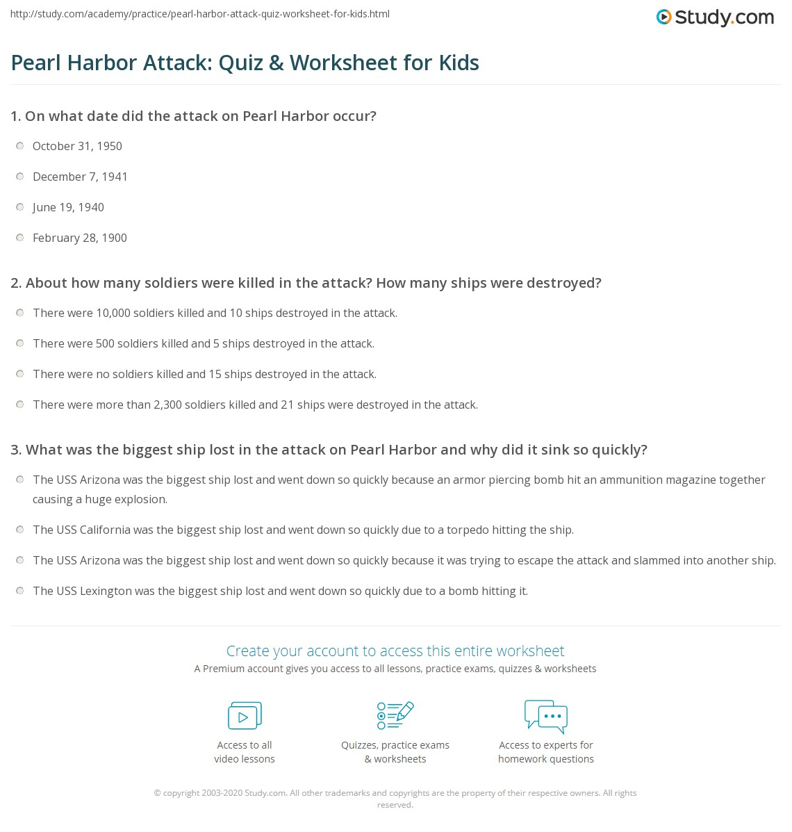 Worksheets Pearl Harbor Worksheet pearl harbor attack quiz worksheet for kids study com print facts lesson worksheet