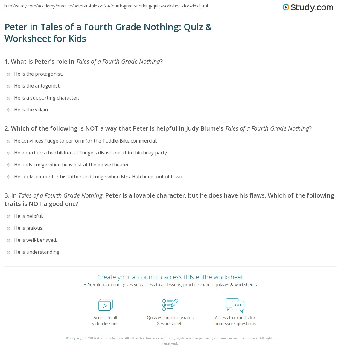 worksheet Tales Of A Fourth Grade Nothing Worksheets peter in tales of a fourth grade nothing quiz worksheet for kids print worksheet