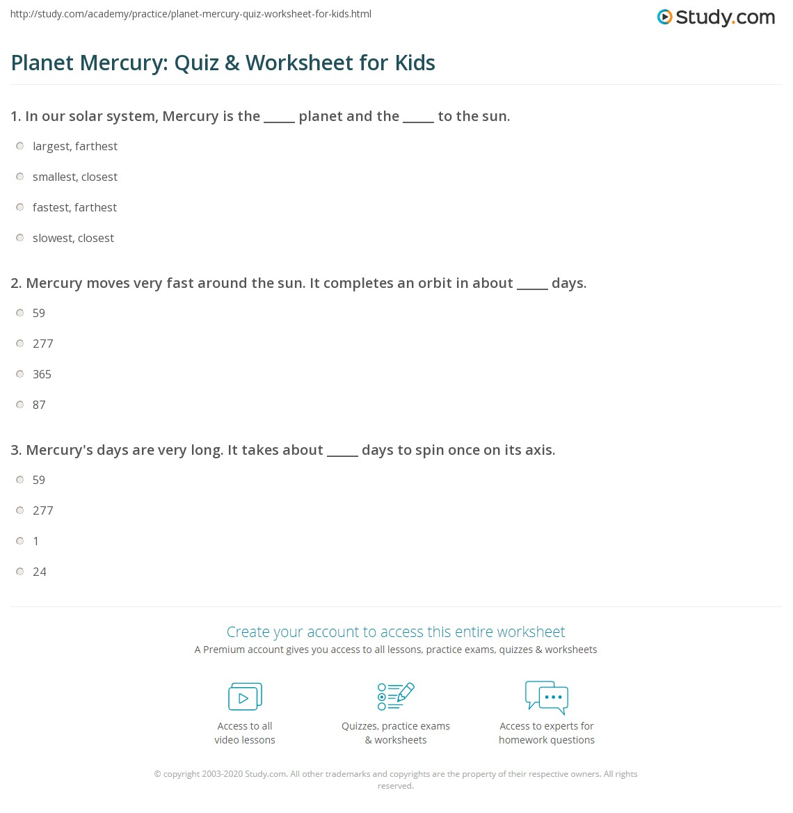Worksheets Planet Worksheets planet mercury quiz worksheet for kids study com print facts lesson worksheet