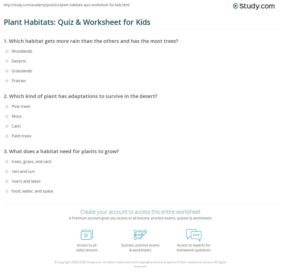 plant habitats quiz worksheet for kids. Black Bedroom Furniture Sets. Home Design Ideas