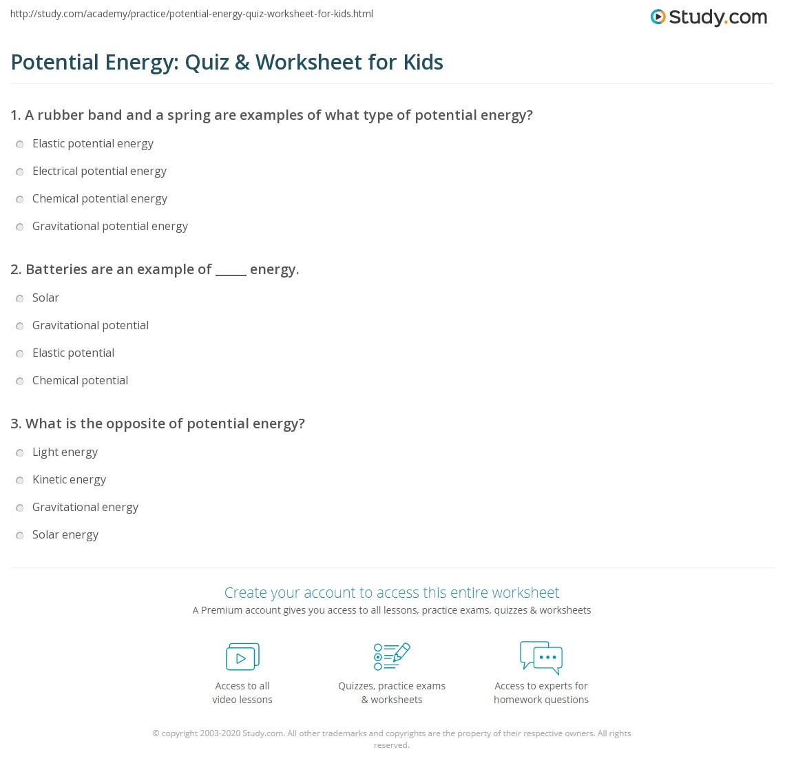Potential Energy: Quiz & Worksheet for Kids | Study.com