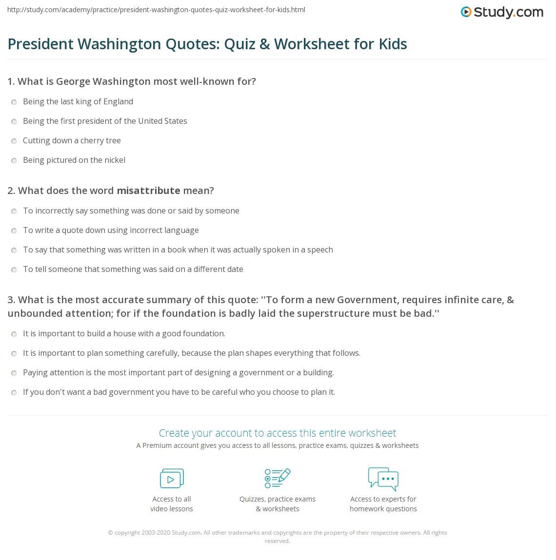 Premise Indicator Words: President Washington Quotes: Quiz & Worksheet For Kids