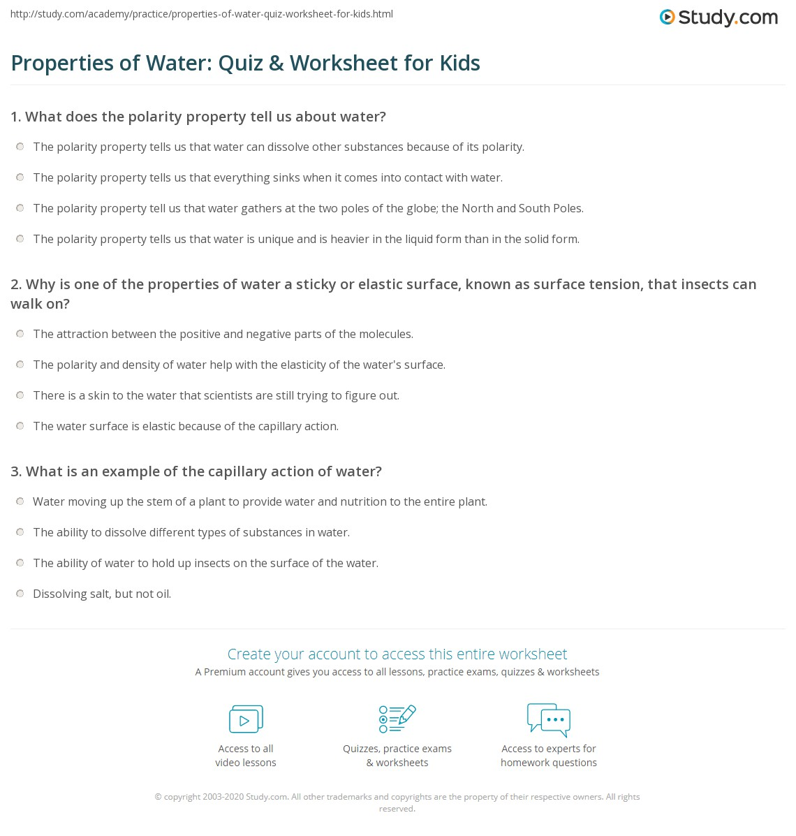 properties of water quiz worksheet for kids. Black Bedroom Furniture Sets. Home Design Ideas