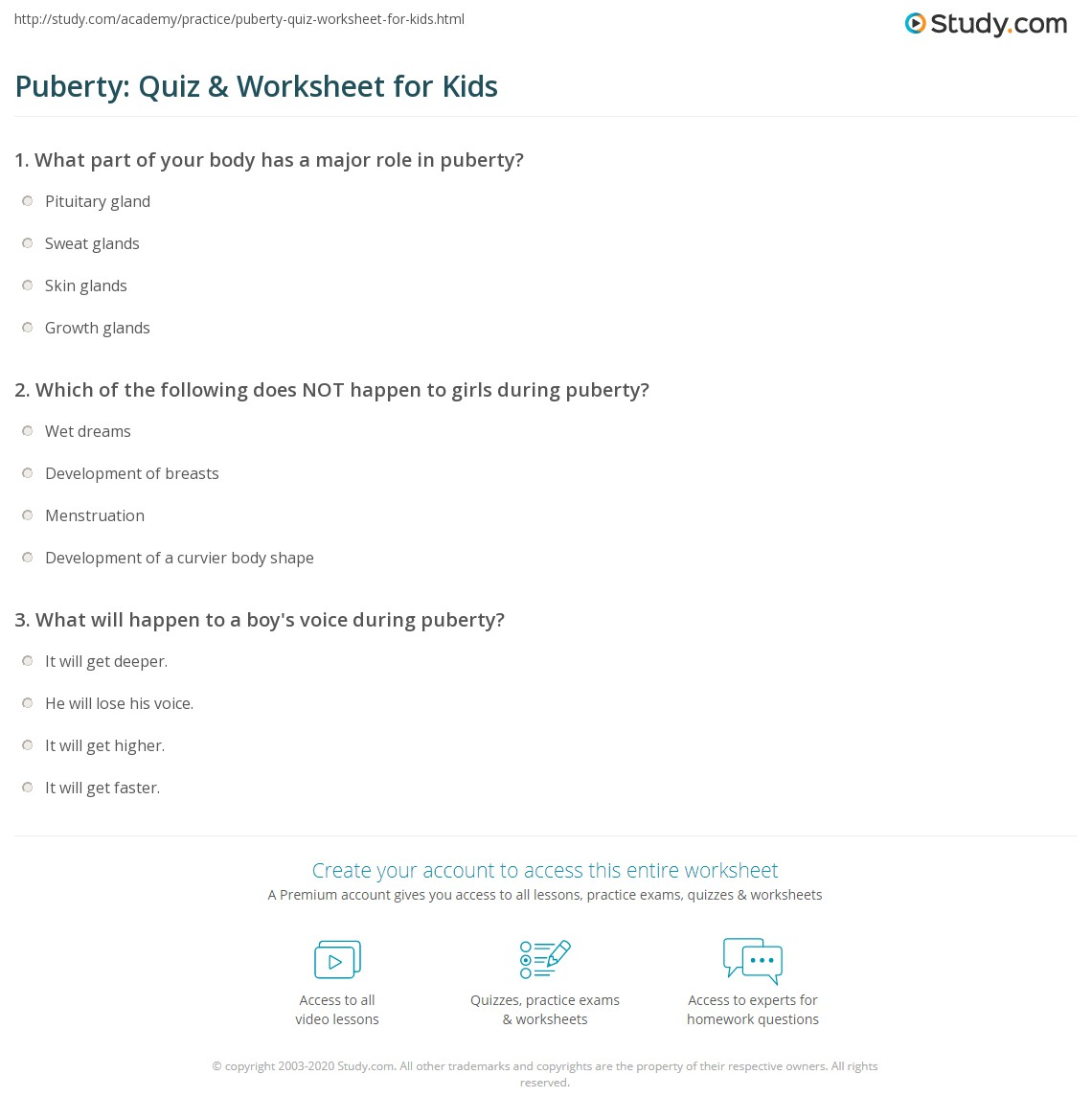 Worksheets Puberty Worksheets puberty quiz worksheet for kids study com print what is lesson worksheet