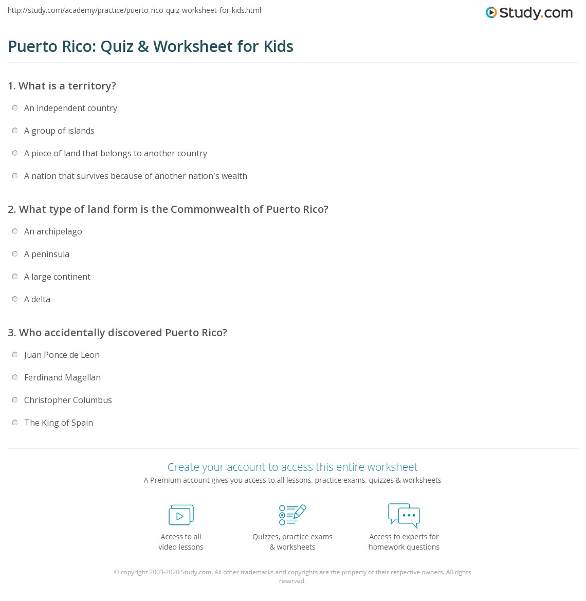 Puerto rico quiz worksheet for kids study print puerto rico facts lesson for kids worksheet biocorpaavc Choice Image