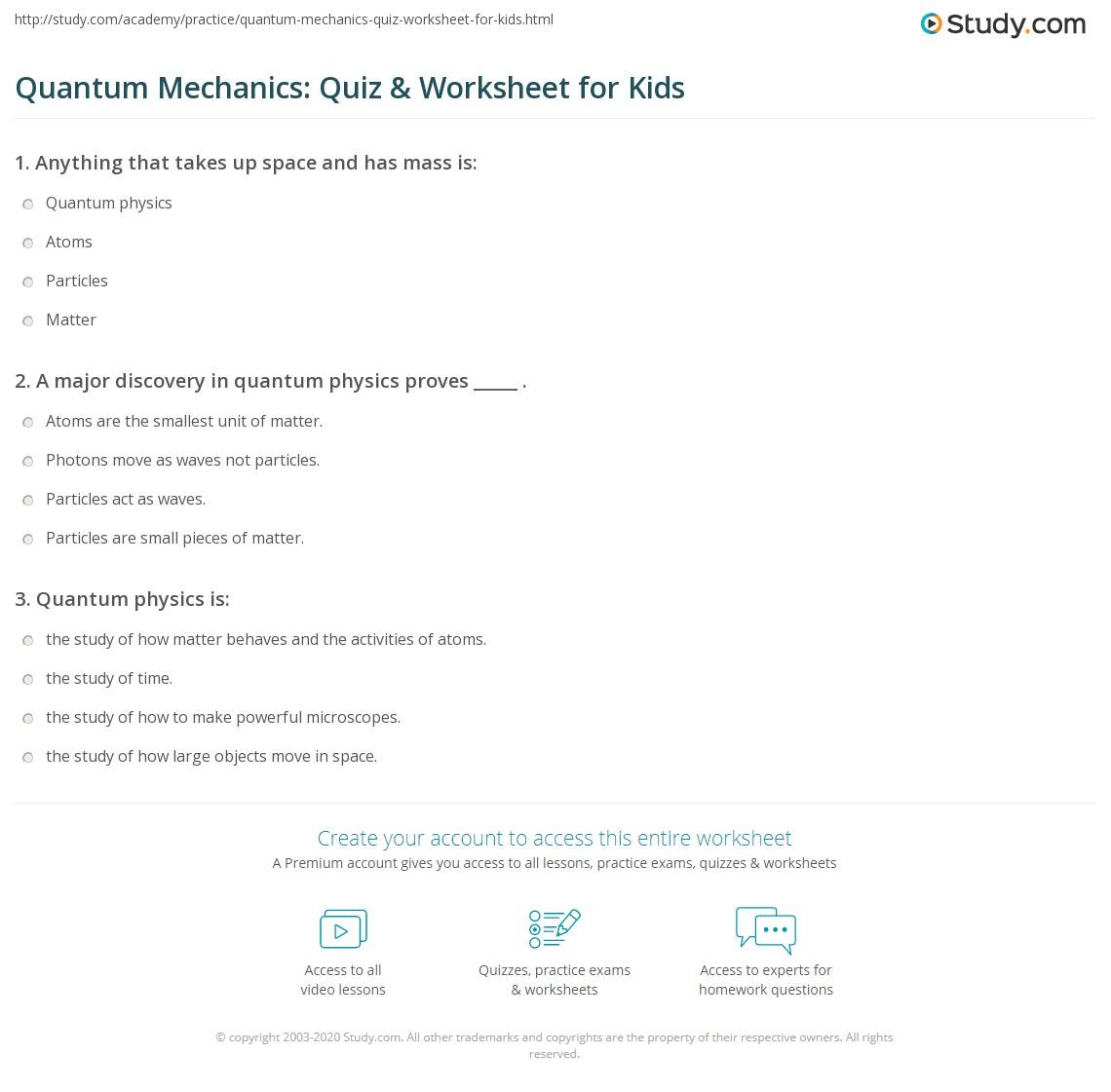 Quantum Mechanics: Quiz & Worksheet for Kids | Study com
