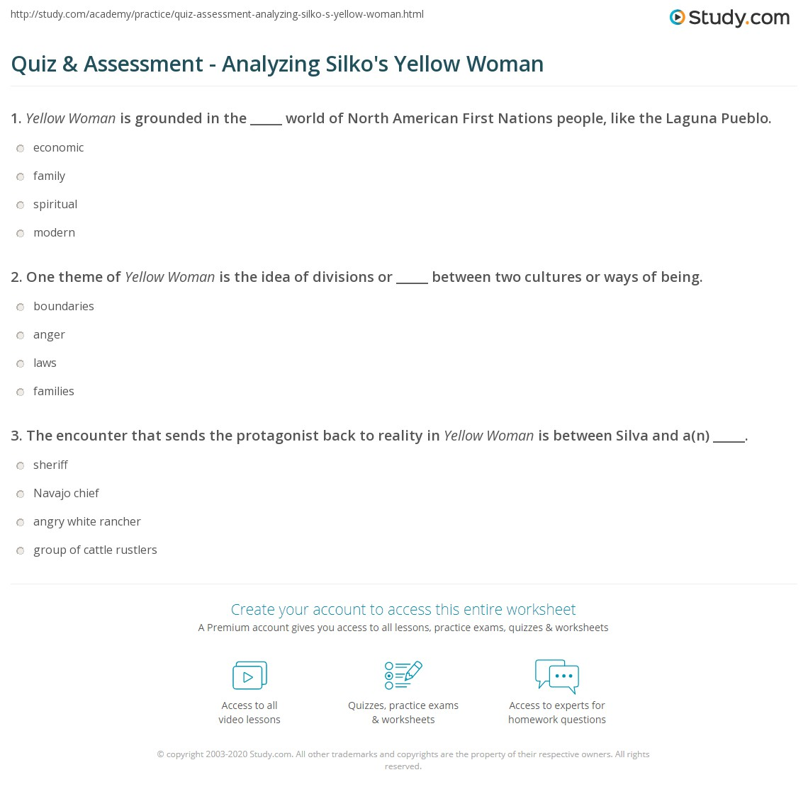 leslie marmon silko yellow woman sparknotes