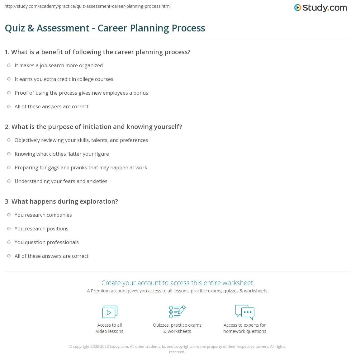 quiz assessment career planning process com print steps in the career planning process worksheet