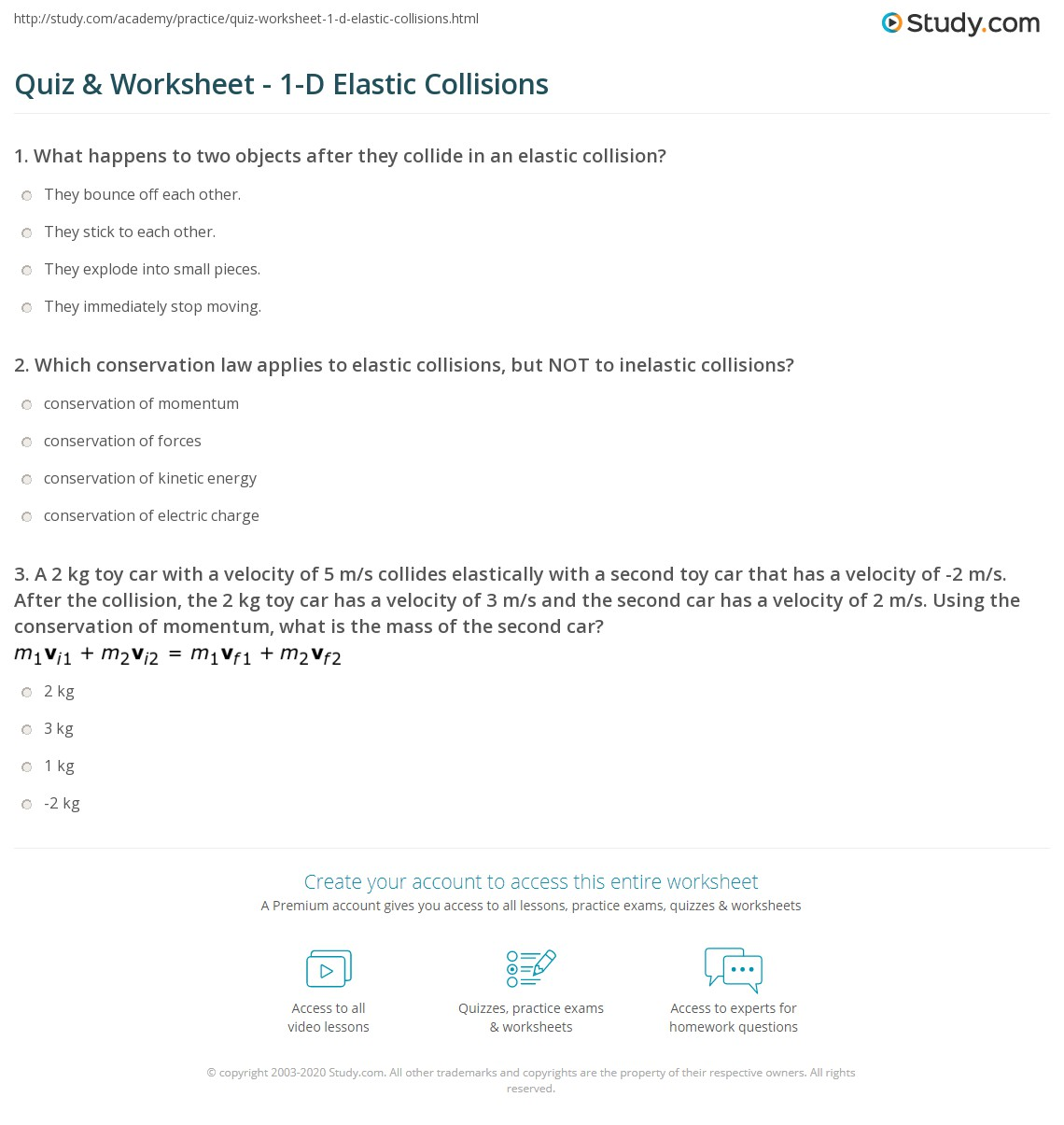 Quiz & Worksheet - 1-D Elastic Collisions | Study.com