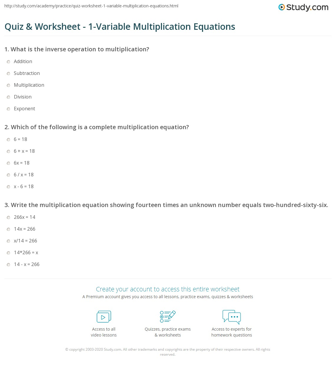 Quiz & Worksheet - 1-Variable Multiplication Equations | Study.com