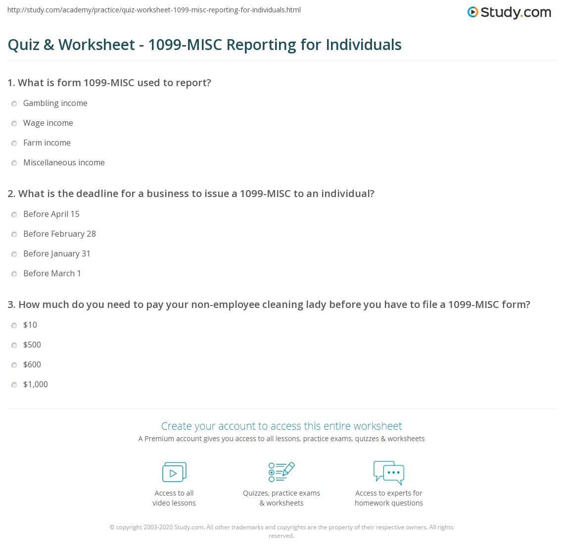 Quiz Worksheet 1099 Misc Reporting For Individuals Study