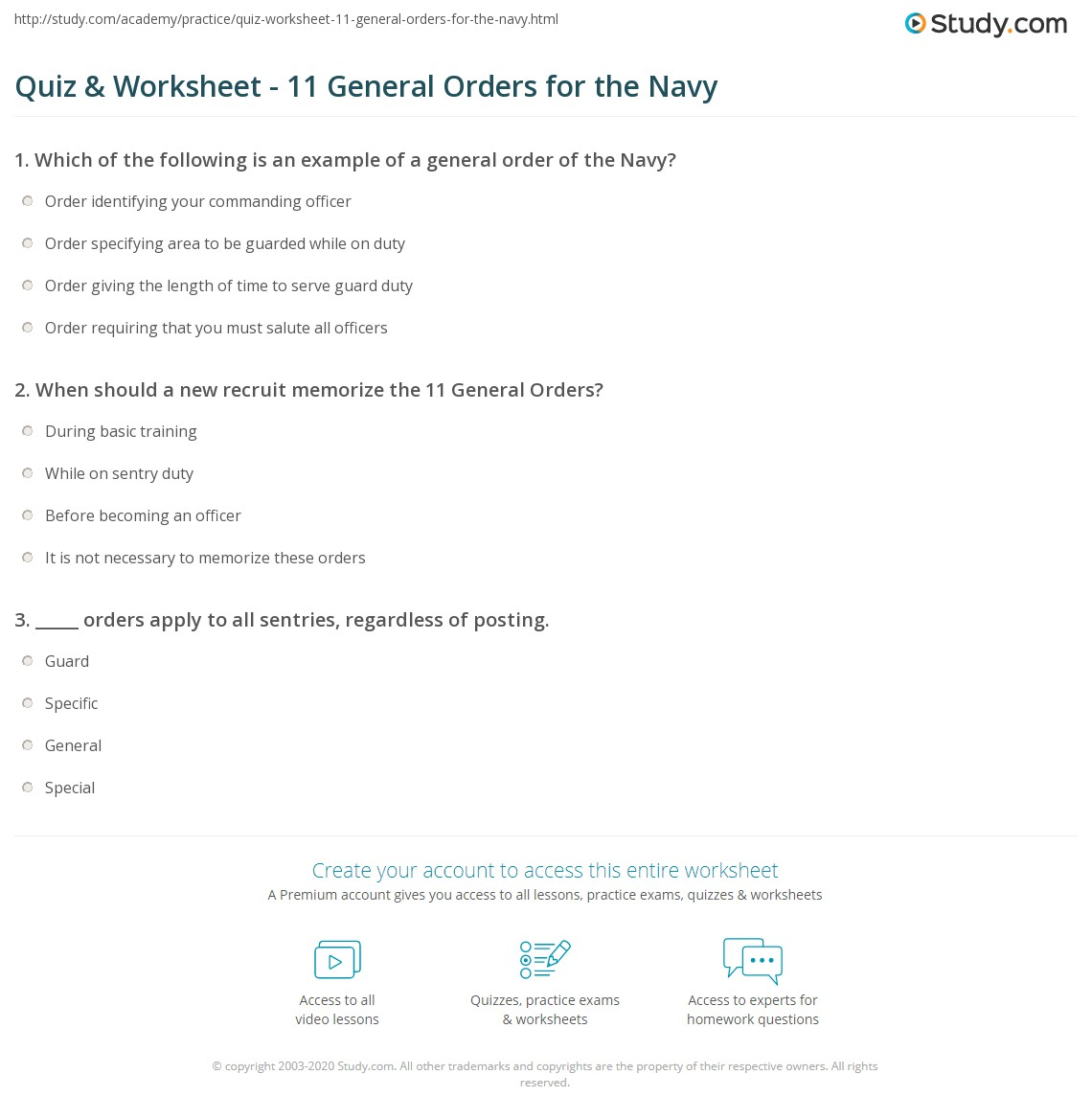 Quiz & Worksheet - 11 General Orders for the Navy | Study.com