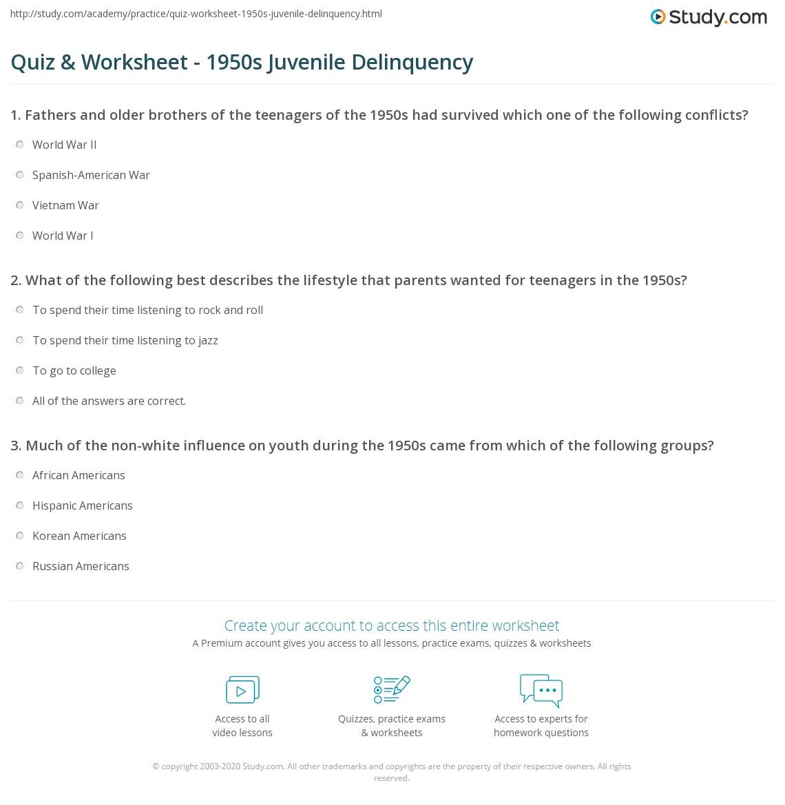 Quiz & Worksheet - 1950s Juvenile Delinquency | Study.com