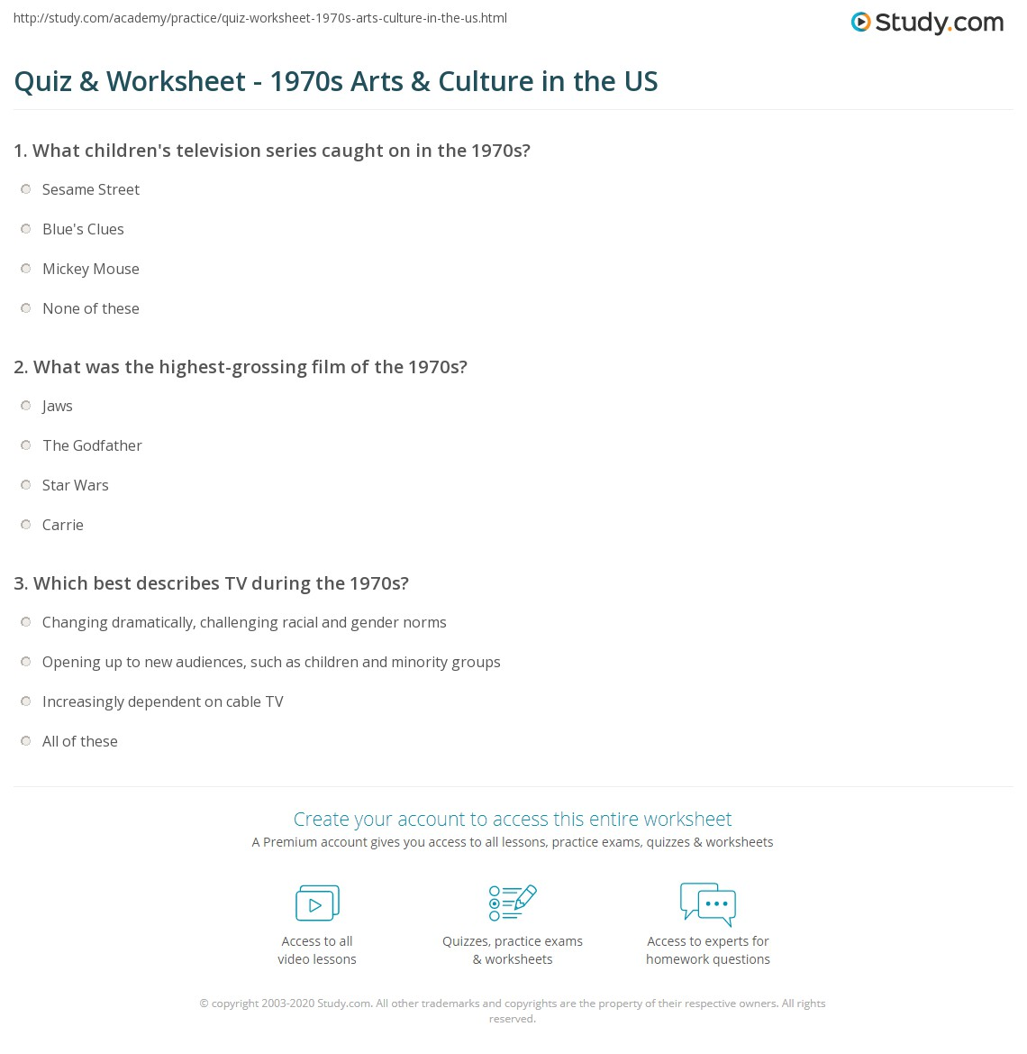 Worksheets Culinary Arts Worksheets quiz worksheet 1970s arts culture in the us study com print entertainment u s worksheet
