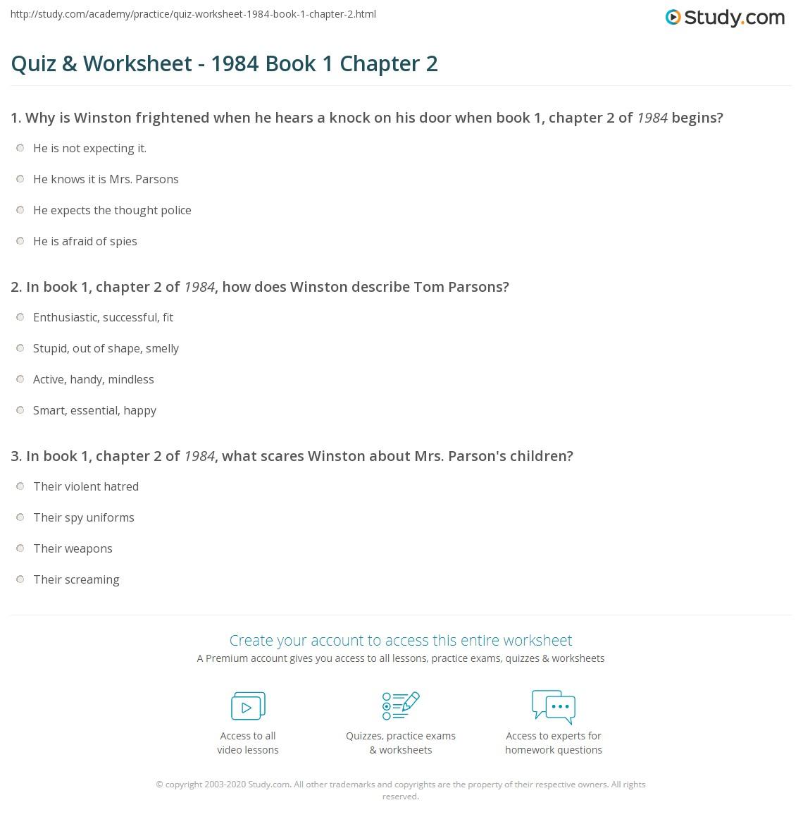 Quiz Worksheet 1984 Book 1 Chapter 2 Studycom