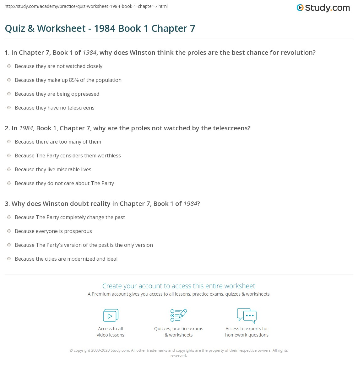 quiz worksheet 1984 book 1 chapter 7 study com rh study com study guide answers for 1984 by george orwell Fahrenheit 451 Study Guide Answers