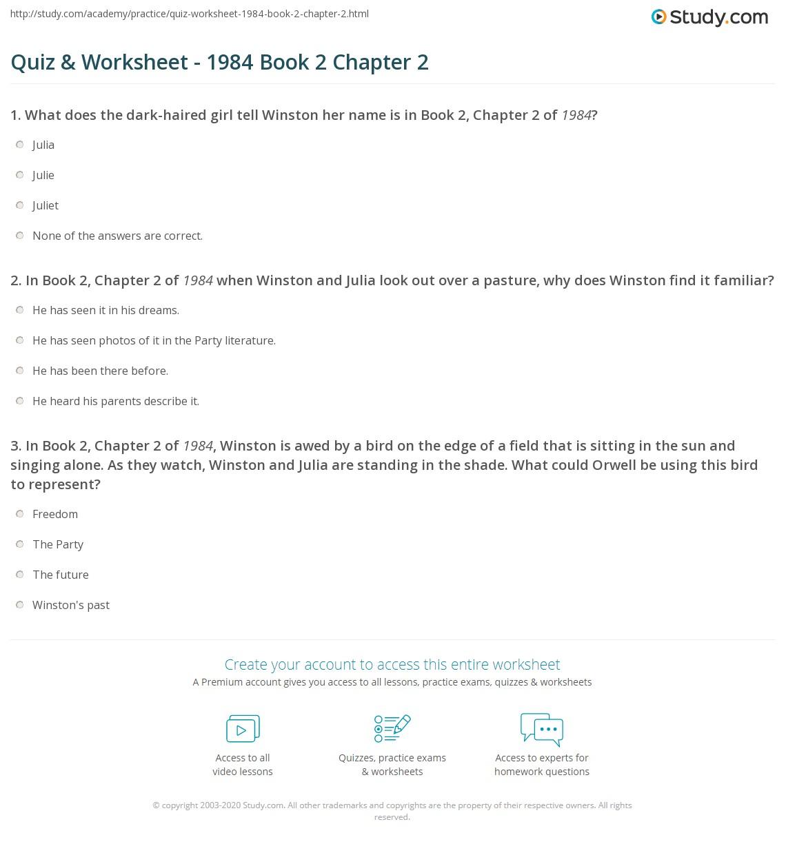 Quiz Worksheet 1984 Book 2 Chapter 2 Studycom
