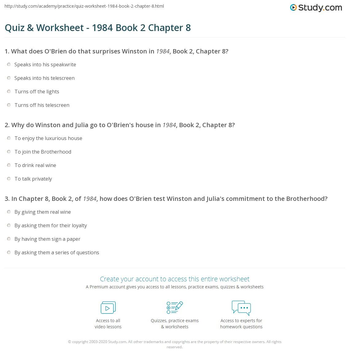 Quiz Worksheet 1984 Book 2 Chapter 8 Studycom
