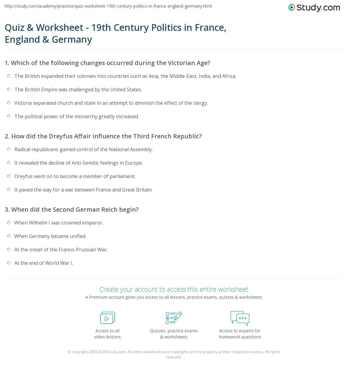quiz worksheet 19th century politics in france england germany. Black Bedroom Furniture Sets. Home Design Ideas