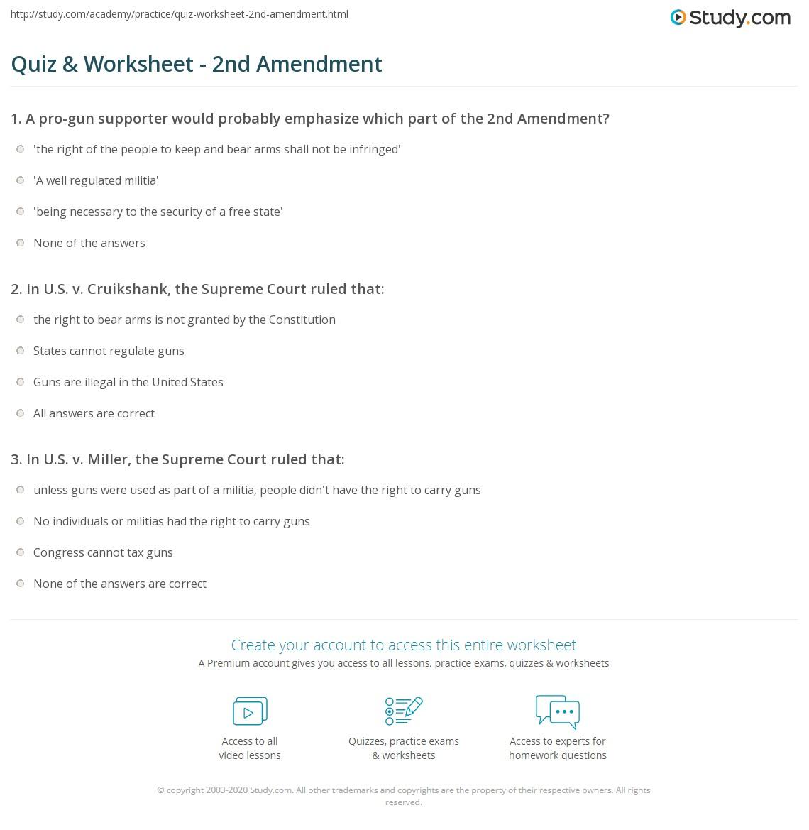 Worksheets Bill Of Rights Matching Worksheet 2nd amendment worksheet defendusinbattleblog quiz study com