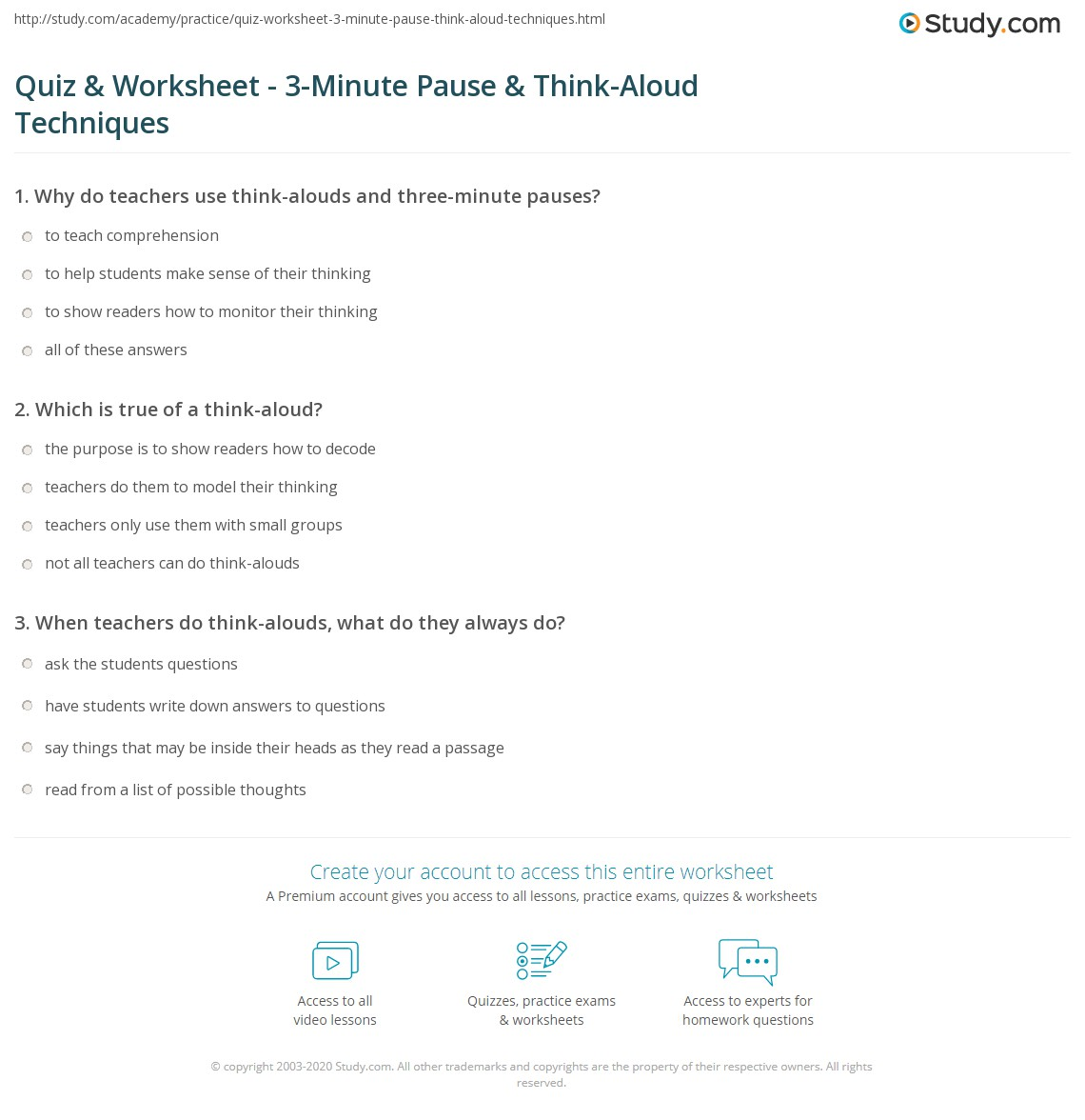 Quiz & Worksheet - 3-Minute Pause & Think-Aloud Techniques ...