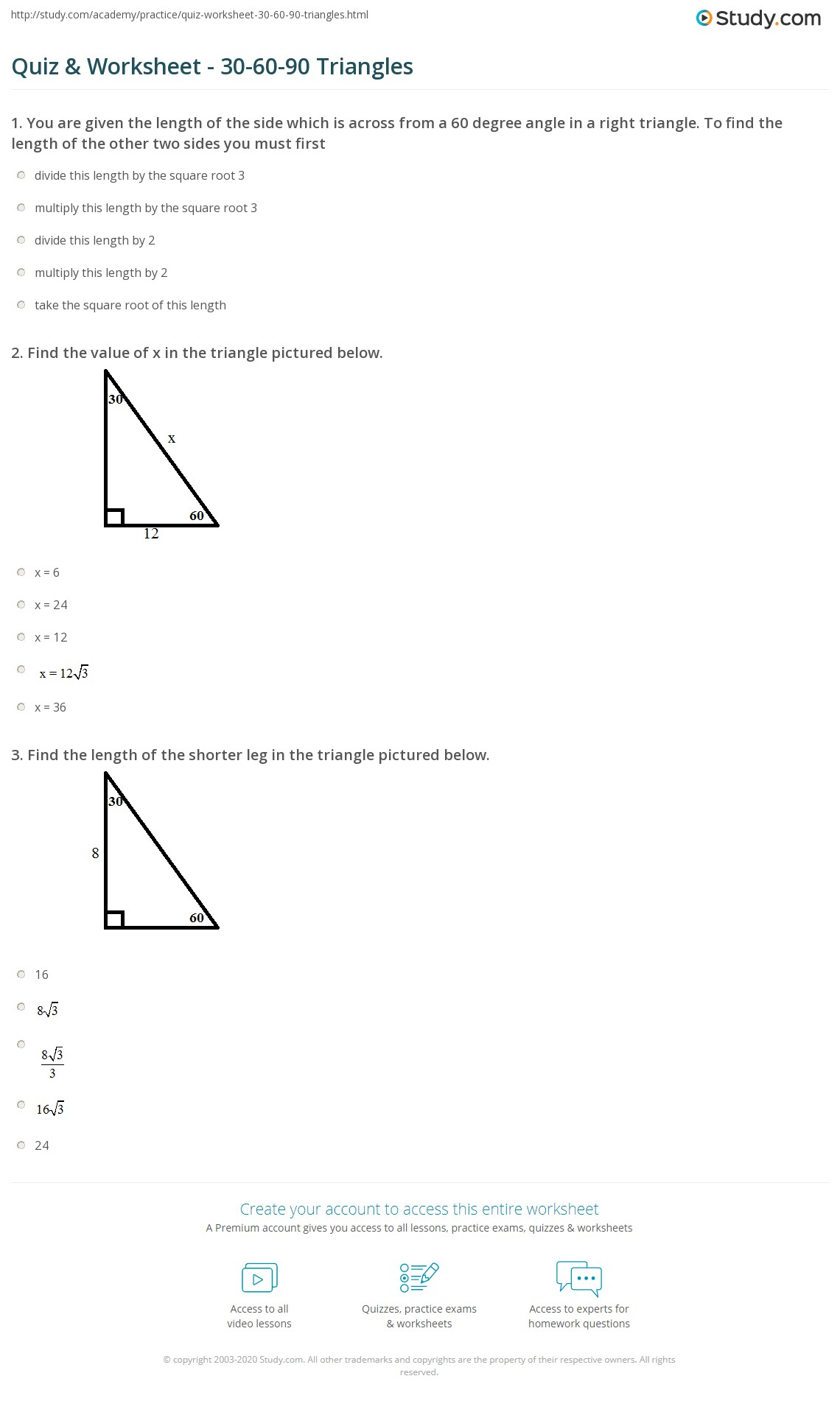 Worksheets Special Right Triangles 45 45 90 Worksheet quiz worksheet 30 60 90 triangles study com print triangle theorem properties formula worksheet