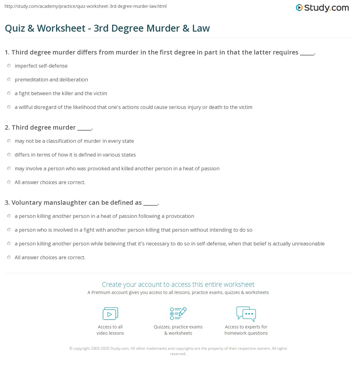 Quiz Worksheet 3rd Degree Murder Law Study