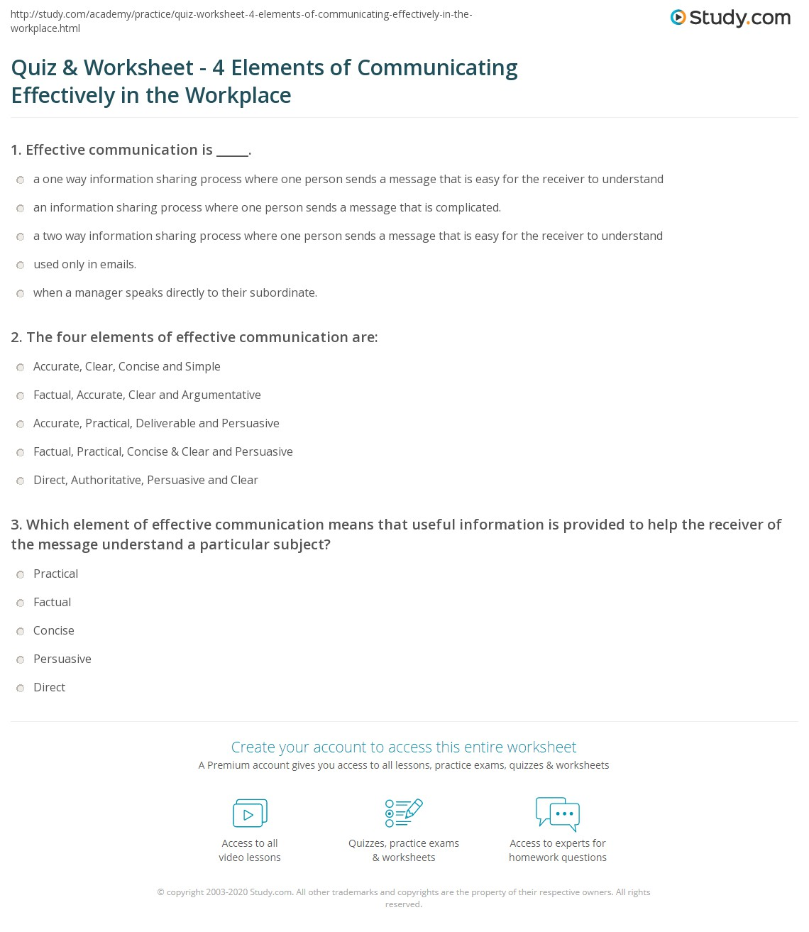 Print Elements of Effective Communication in the Workplace Worksheet