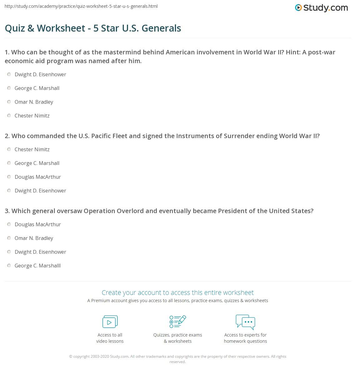 Quiz & Worksheet - 5 Star U S  Generals | Study com