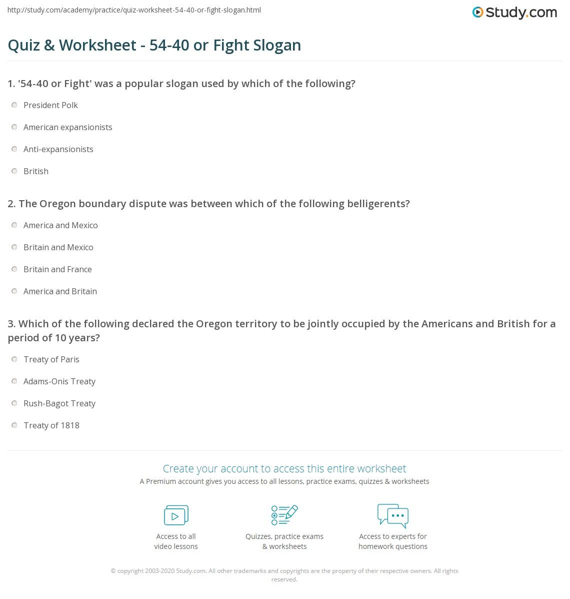 worksheet Oregon Child Support Worksheet quiz worksheet 54 40 or fight slogan study com print history significance worksheet