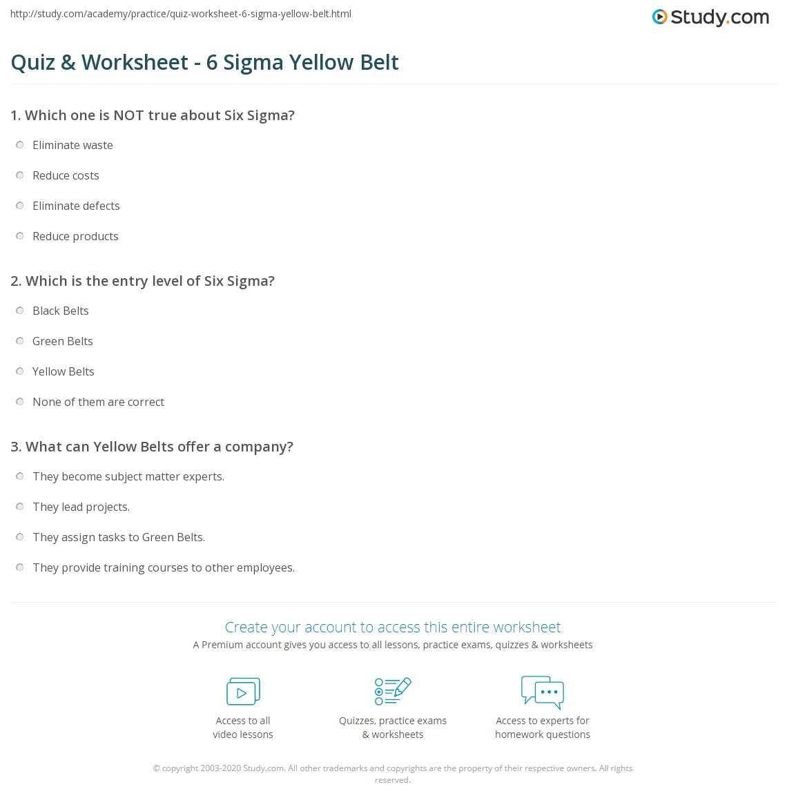 Quiz worksheet 6 sigma yellow belt study print six sigma yellow belt certification definition worksheet 1betcityfo Image collections