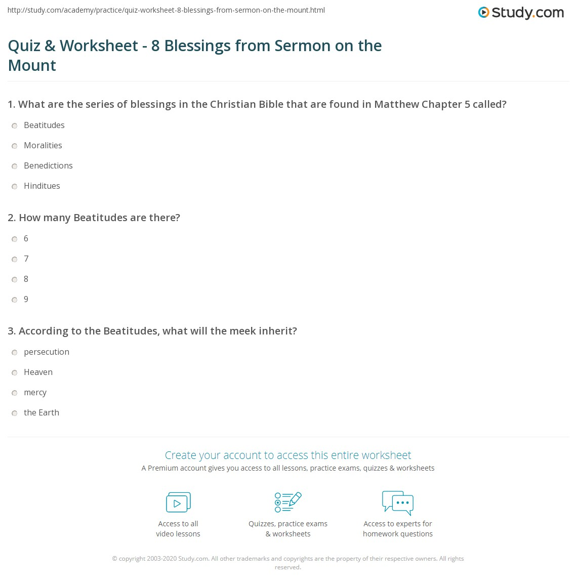 Worksheets Sermon Preparation Worksheet quiz worksheet 8 blessings from sermon on the mount study com print what are beatitudes definition meaning worksheet