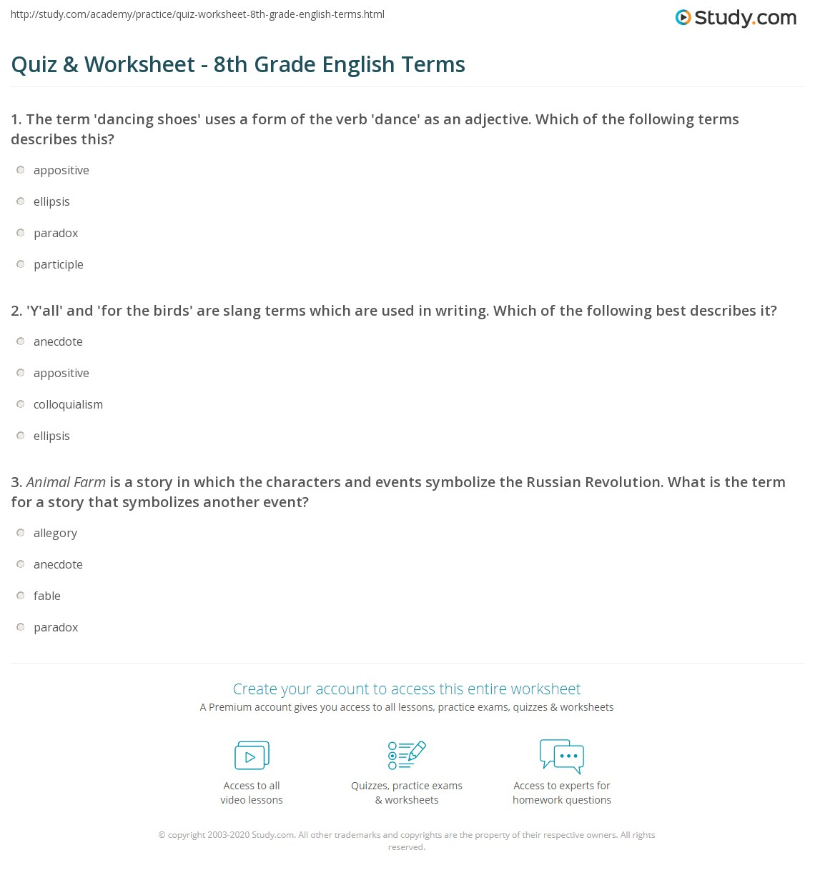 Worksheets Worksheets For 8th Grade quiz worksheet 8th grade english terms study com print vocabulary words worksheet