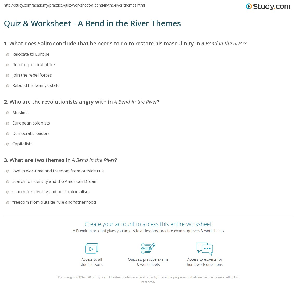 Quiz Worksheet A Bend In The River Themes Studycom