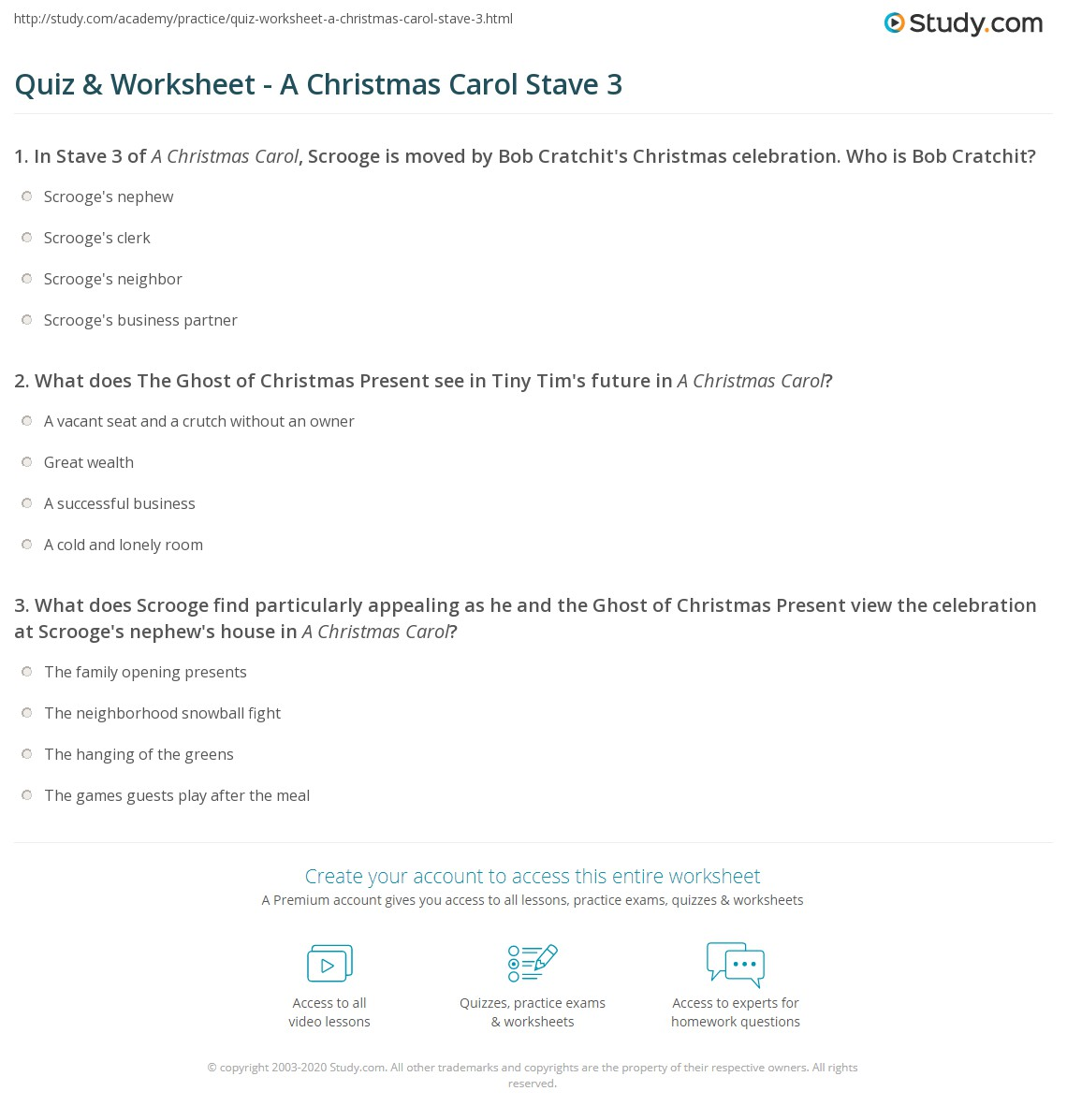 Quiz & Worksheet - A Christmas Carol Stave 3 | Study.com