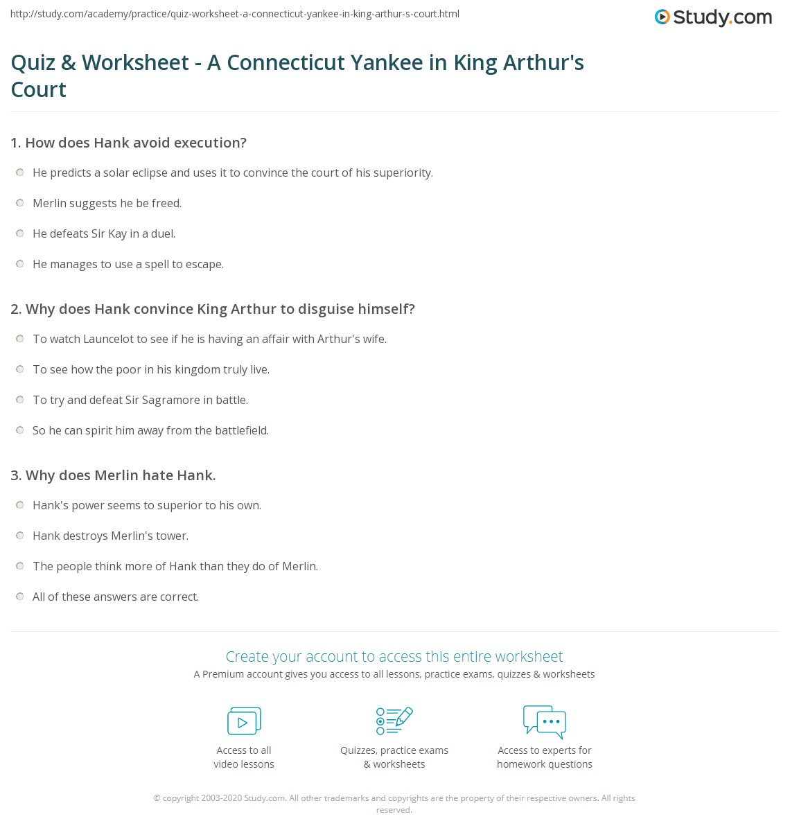 Quiz worksheet a connecticut yankee in king arthurs court print a connecticut yankee in king arthurs court summary analysis worksheet xflitez Gallery