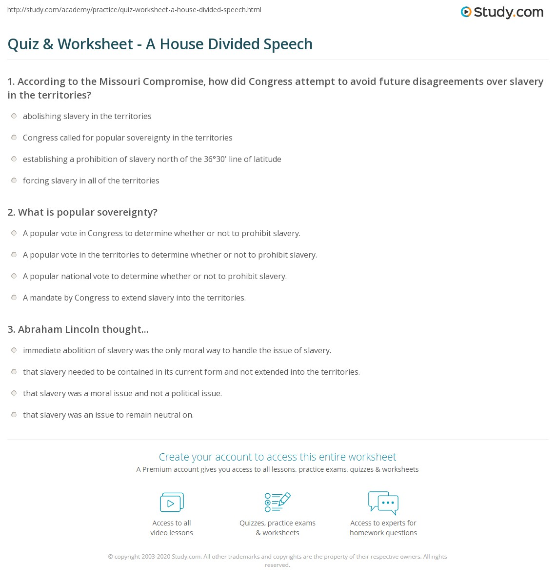 Quiz Worksheet A House Divided Speech Study