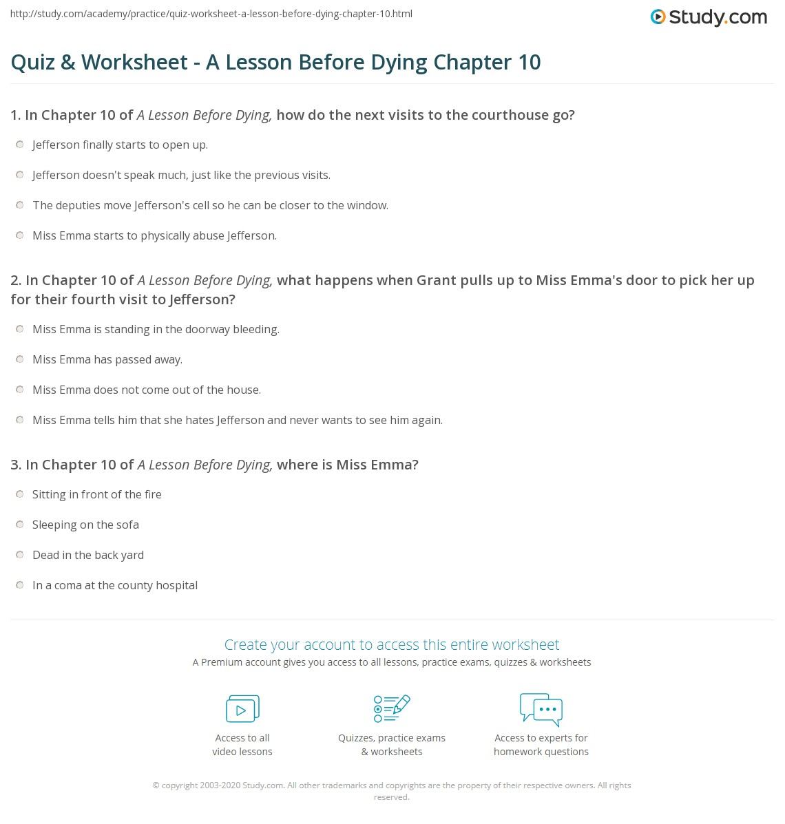 quiz worksheet a lesson before dying chapter com print a lesson before dying chapter 10 worksheet