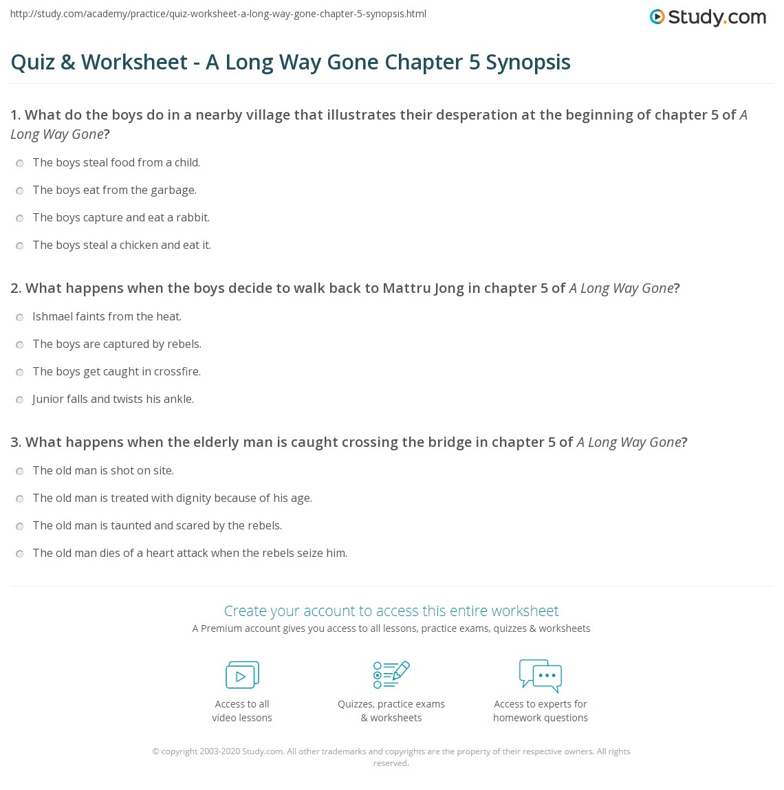 a long way gone chapter 1 Get free homework help on ishmael beah's a long way gone: book summary,  chapter summary and analysis, quotes, and character analysis courtesy of.