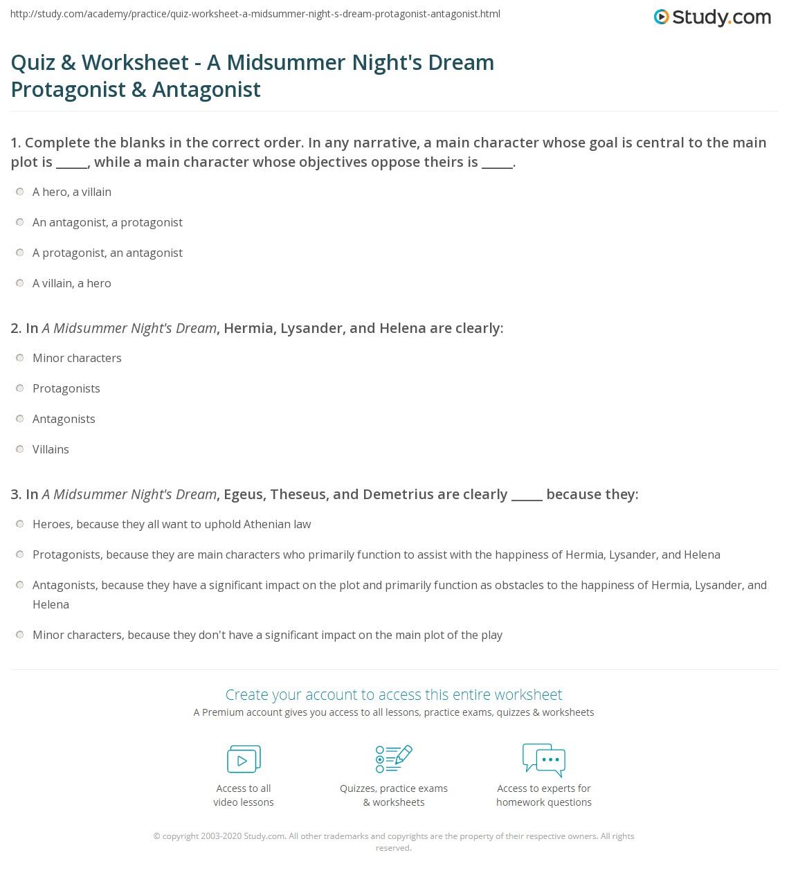 quiz worksheet a midsummer night 39 s dream protagonist antagonist. Black Bedroom Furniture Sets. Home Design Ideas