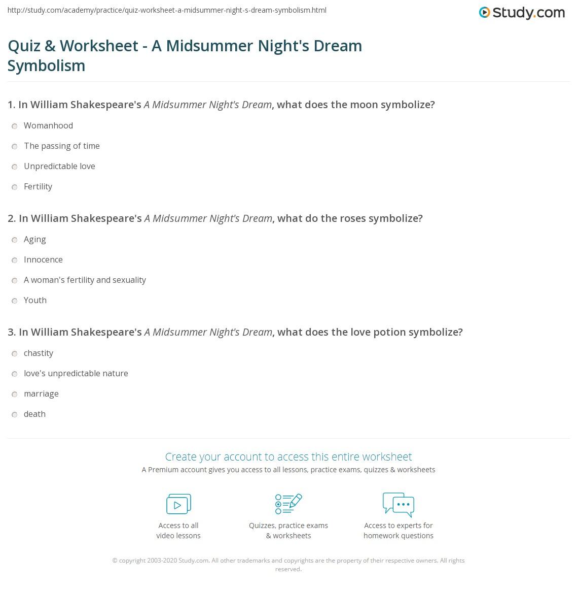 Quiz Worksheet A Midsummer Nights Dream Symbolism Study