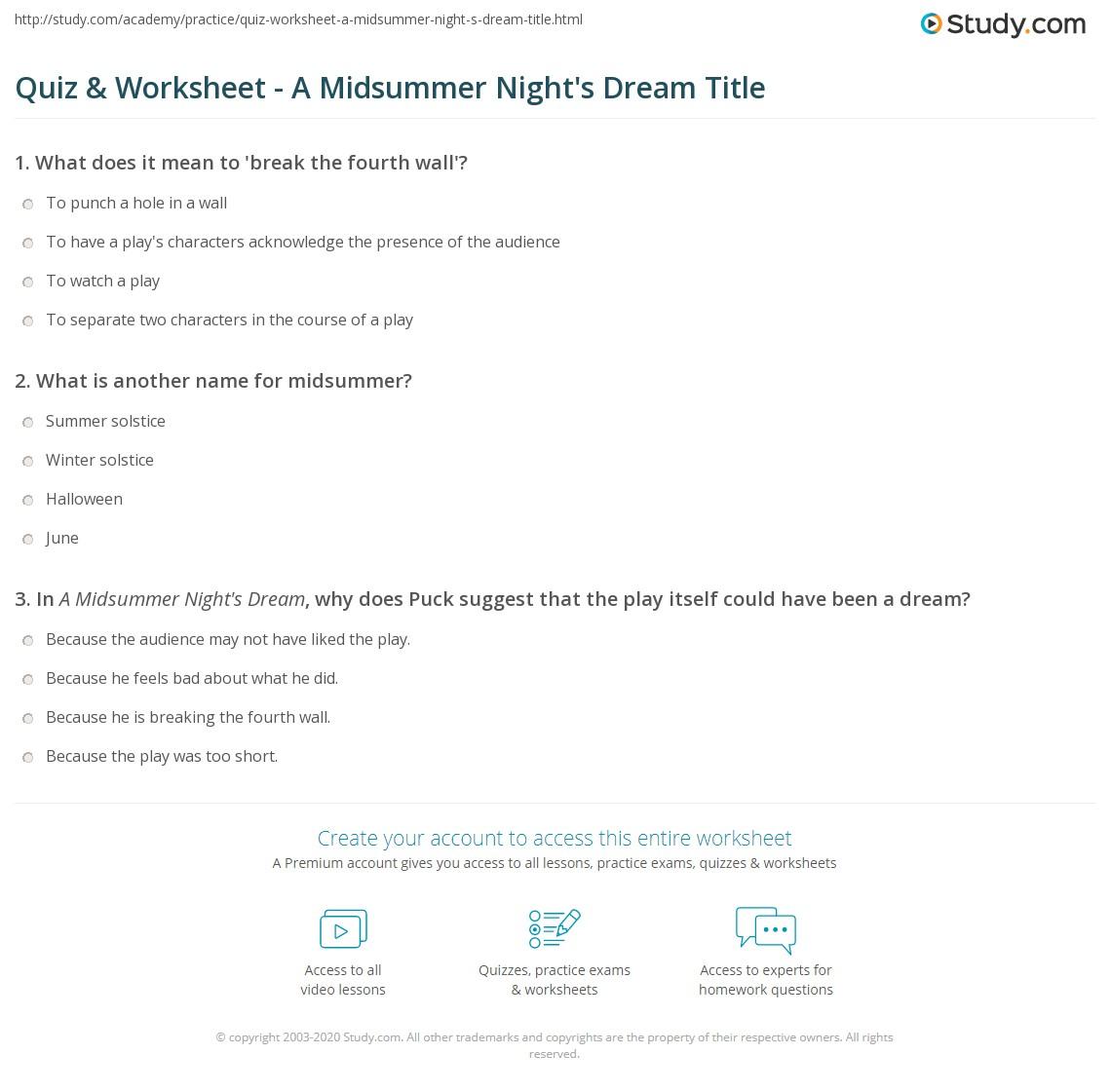 Quiz & Worksheet - A Midsummer Night's Dream Title | Study com