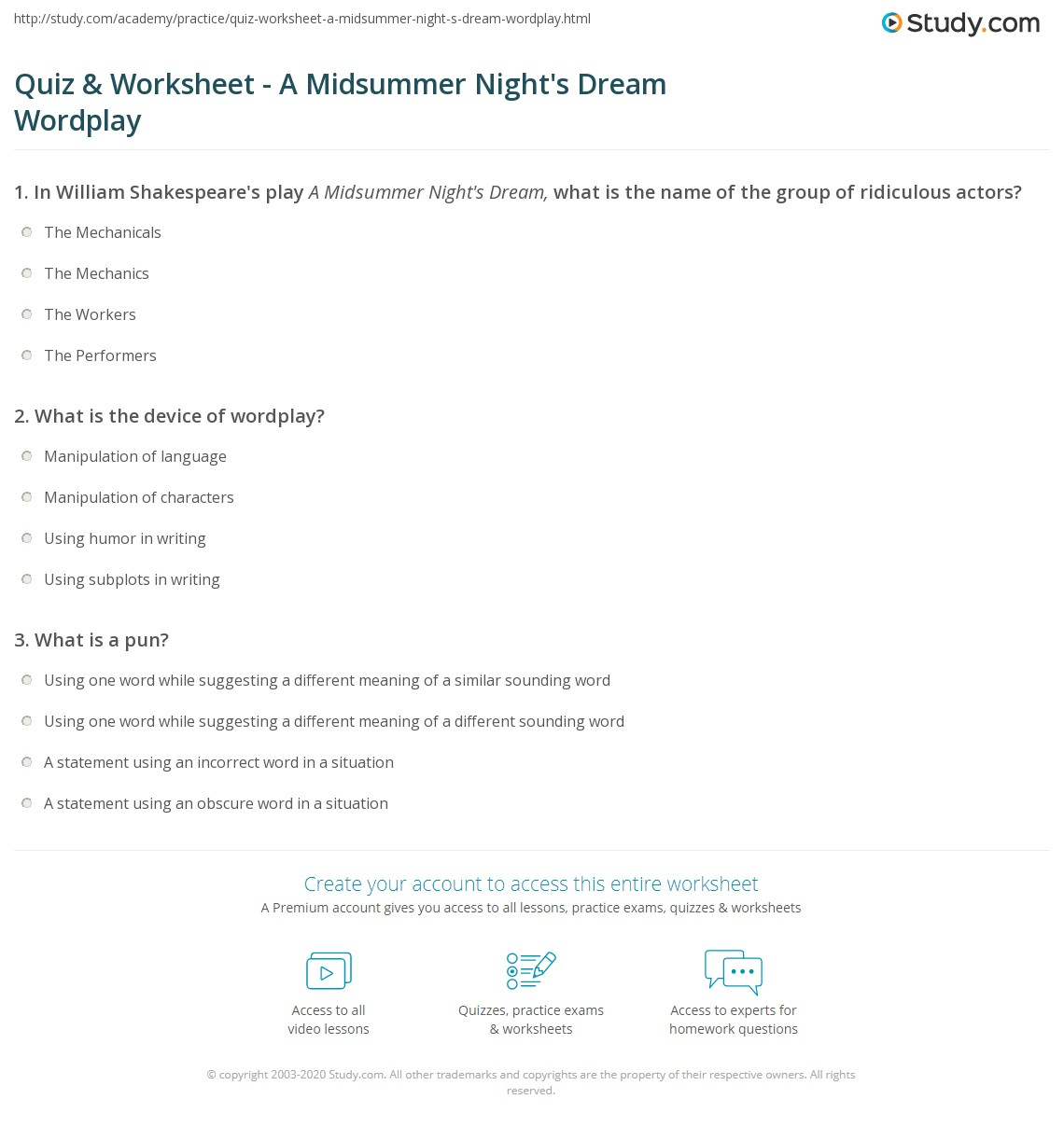 Quiz Worksheet A Midsummer Nights Dream Wordplay Study