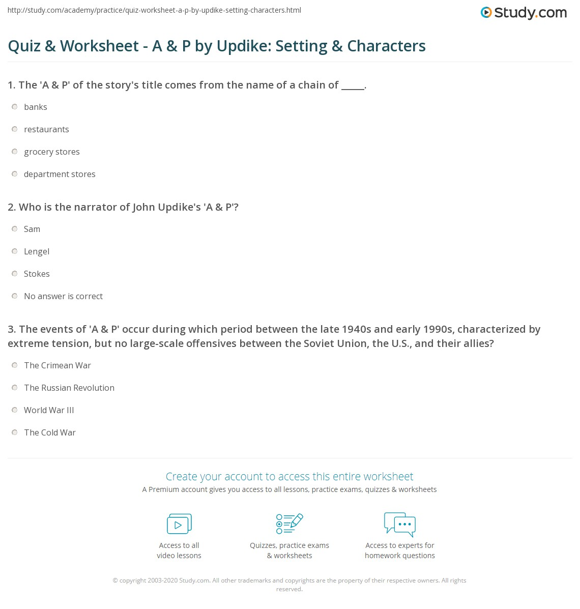 quiz worksheet a p by updike setting characters com print a p by john updike setting character analysis worksheet